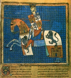 Portrait of Alfonso X from the codex Tumbo 'A' de Santiago (Dated between 1229 and 1255)