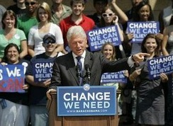 Former President Bill Clinton campaigning for Barack Obama at the CFE Arena in October 2008