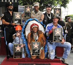 Village People receive their star on the Hollywood Walk of Fame Left to right – front row: David Hodo, Felipe Rose, Jeff Olson / back row: Ray Simpson, Alex Briley, Eric Anzalone – receiving Hollywood Walk of Fame star in 2008