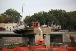 Demolition and removal of a portion of the connecting span between the north span of the 11th Street Bridge and Interstate 695 (Southeast Freeway) on October 10, 2009