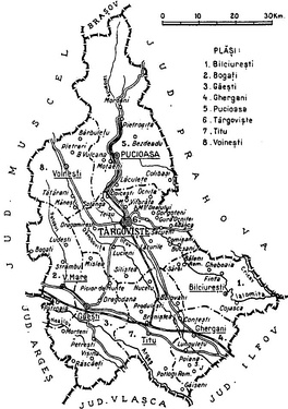 Map of Dâmbovița County as constituted in 1938.