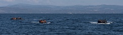 Inflatable boats have been used by refugees to cross the Aegean Sea from Turkey to Greece.