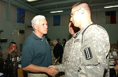 Congressman Pence visits US soldiers in Mosul, Iraq, in 2006.