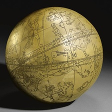 A Large Persian Brass Celestial Globe with an ascription to Hadi Isfahani and a date of 1197 AH/ 1782-3 AD of typical spherical form, the globe engraved with markings, figures and astrological symbols, inscriptive details throughout