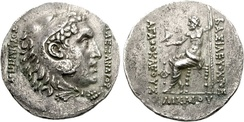 Commemorative coin by Agathocles of Bactria (190–180 BC) for Alexander the Great