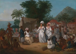 A Linen Market with enslaved Africans. West Indies, circa 1780