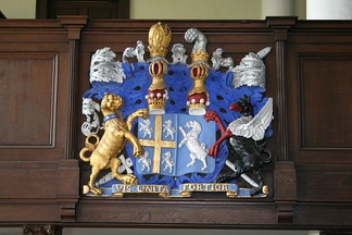 Lord Crew's arms has a Baron's coronet, but as Bishop of Durham he showed an Earl's coronet too