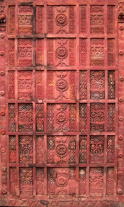 The wall carvings on the 17th-century Atia Mosque built during the Mughal Empire