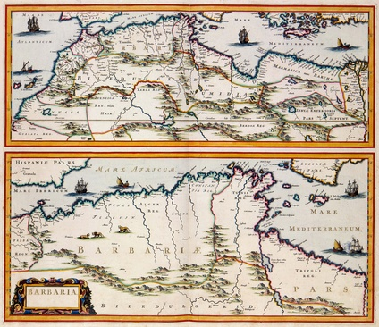 "A 17th-century map by the Dutch cartographer Jan Janssonius showing the Barbary Coast, here ""Barbaria"""