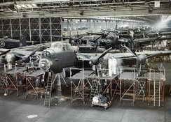 Lancaster bombers on Avro's Woodford assembly line at Cheshire, 1943