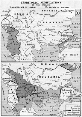 Boundaries on the Balkans after the First and the Second Balkan War (1912–1913)