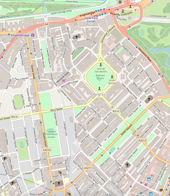 A map of Belgravia. The green square in the centre of the map is Belgrave Square.