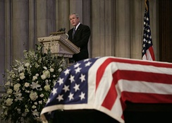 President George W. Bush gives a eulogy at President Gerald Ford's national funeral service