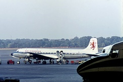 A Caledonian Douglas DC-6B seen sharing the apron with two Pan Am DC-6Bs at Berlin Tempelhof in June 1964.