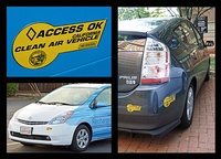 California's clean air bumper sticker used to allow HEVs to access HOV lanes. Shown a RechargeIT's plug-in converted Prius (left) and a conventional Toyota Prius (right).
