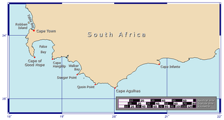Map of the Cape of Good Hope and Cape Agulhas the southernmost point of Africa.