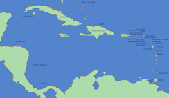 The mostly Spanish-controlled Caribbean in the 16th century