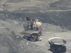 Trucks loaded with coal at the Cerrejón coal mine in Colombia