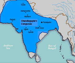 Bindusara extended the borders of the empire southward into the Deccan Plateau c. 300 BCE.[37]