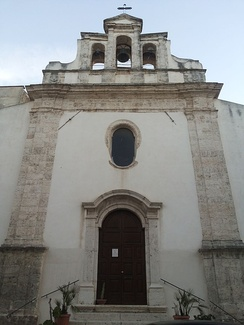 The façade of the Church of the Most Holy Trinity, Alcamo.