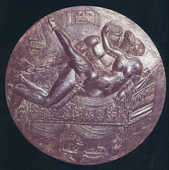 Male–female couple on the back of a bronze mirror (ca. 70–90 AD)