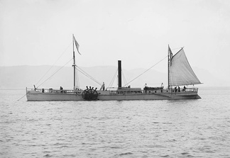 The 1909 replica of the North River Steamboat, the first steamboat to achieve commercial success transporting passengers along the Hudson River.