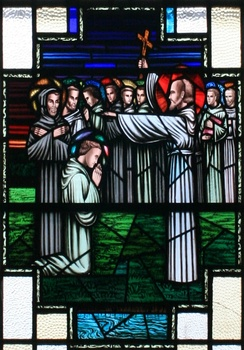"Finnian of Clonard imparting his blessing to the ""Twelve Apostles of Ireland"""