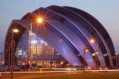 Lord Foster's Clyde Auditorium, colloquially known as 'the Armadillo'