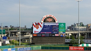 The center field scoreboard in July 2015