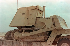 An armored bulldozer similar to the ones used in the attack