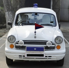 This car has one star (on the blue box), indicating that it belongs to a one-star ranking Indian police officer.
