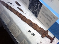 A sword of a Viking buried at Repton in Mercia. This sword is now in Derby Museum.