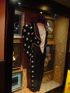 Elton John costume from the 1986 Tour de Force Australian concerts, on display in the Hard Rock Cafe, London