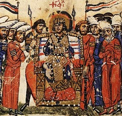 An emperor of the Byzantine Empire is guarded by two Vikings with spear (Varangian Guardsmen). From the Chronicle of John Skylitzes.