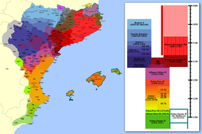 Territorial expansion of the Crown of Aragon between 11th and 14th centuries in the Iberian Peninsula and Balearic Islands.