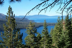 Fallen Leaf Lake and Lake Tahoe in background from Angora Ridge Rd. to the Angora Lakes Resort