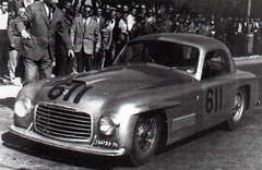 1948 Ferrari 166 S #003S, Berlinetta coachwork by Carrozzeria Allemano, here at the 1949 Mille Miglia.
