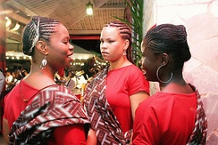 Black girls during a Candomblé ceremony.