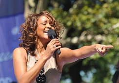 "Houston performing ""My Love Is Your Love"" with her daughter Bobbi Kristina Brown on Good Morning America, September 1, 2009"