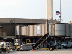 An American flag now flies over Gate 17 of Terminal A at Newark Liberty International Airport in Newark, New Jersey, departure gate of United Airlines Flight 93 on 9/11.