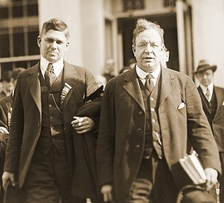 Boston Socialist George Roewer and Stedman leaving Atlanta Federal Penitentiary, where they visited presidential nominee Gene Debs, May 1920.