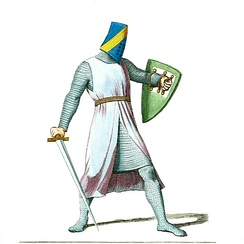 Helmeted Knight of France, illustration by Paul Mercuri in Costumes Historiques (Paris, 1860–1861)