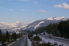 Interstate 80 near the Donner Summit in wintertime