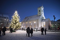 A christmas tree outside Reykjavik Cathedral