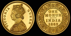 One Mohur depicting Queen Victoria (1862)