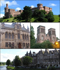 Clockwise from top: Inverness Castle, Inverness Cathedral, Ness Walk and Town House.