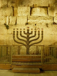 Second night of Hannukah at Jerusalem's Western Wall