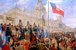 Bernardo O'Higgins swears officially the independence of Chile.