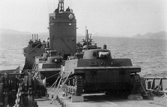 Group of Type 2 Ka-Mi tanks on board of 2nd class transporter of the Imperial Japanese Navy, 1944-1945