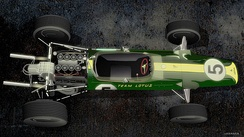 A Lotus 49 with Ford V-8 engine drawing